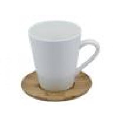 Venizia Ceramic Mug and Bamboo Saucer