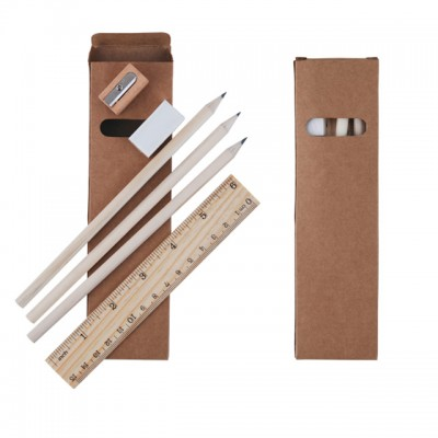 Budget Stationery Set with Pencils, Ruler, Sharpener and Eraser