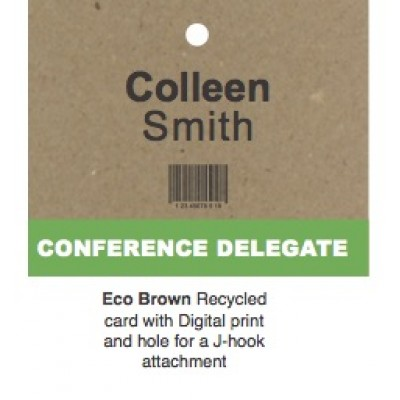 Recycled Lanyard Name Card - Brown. Custom Printed