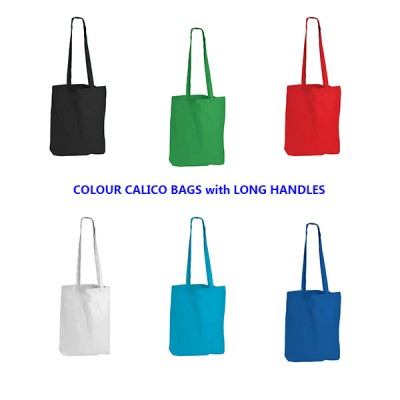 Coloured Calico Conference Bags with long handles