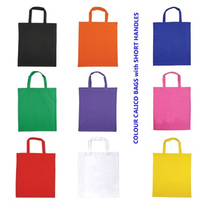 Coloured Calico Bags with short handles