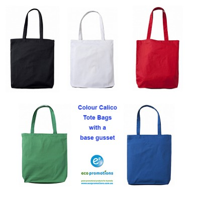 Colour Calico Tote Bag with gusset