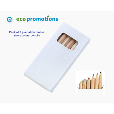 Short Natural Colour Pencils (Pack of 6)