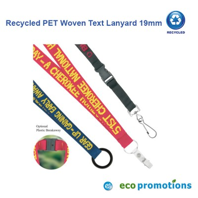 Recycled PET Woven Text Lanyard 19mm