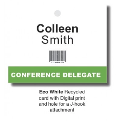 Recycled Lanyard Name Card - white. Custom Printed
